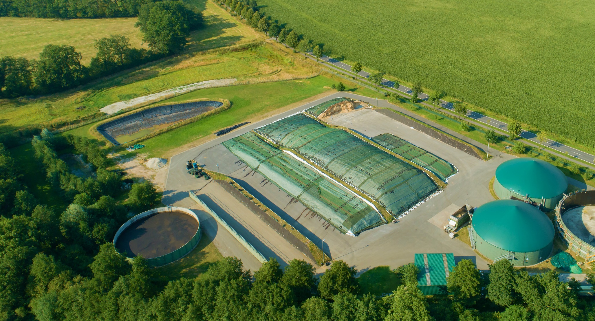 Forage preservation - Biogas plant and clamps aerial view